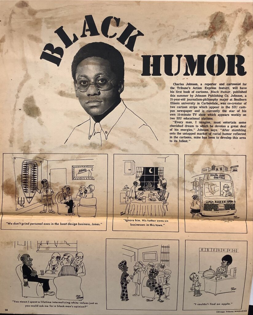 The page has a photo of a 21-year old Charles Johnson alongside a short biography with six panels of Johnson's cartoons underneath.