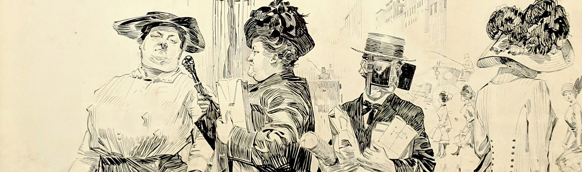 A sketched drawing of individuals walking about a city with clothing reflecting a mid-19th century time period. The women all walk about as normal, but the men seem to be wearing horse blinders.