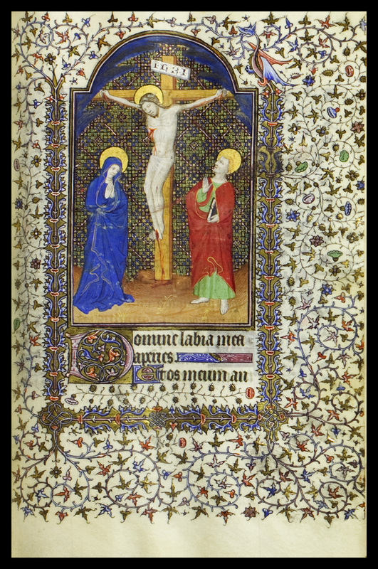 """This image from Autour du Livreis a simple crucifixion scene, with Mary and John standing on each side, and a decorative background rather than a landscape. Above Christ's head is the inscription INRI ( Iesus Nazarenus Rex Iudaeorum , """"Jesus of Nazareth King of the Jews"""")."""