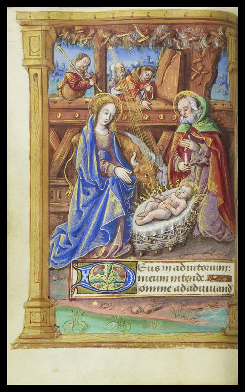 This image from Autour du Livreis a nativity scene with Joseph and Mary on either side of the infant Jesus with the three wise men looking in through the manger's window.