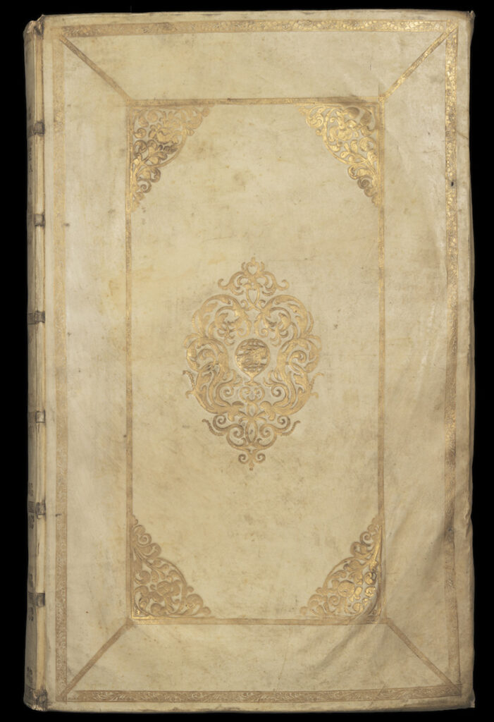 The cover of the Washington University Library's copy of the Atlas Maior by Joan Bleau. The cover is pale with intricate gold leaf decorations.