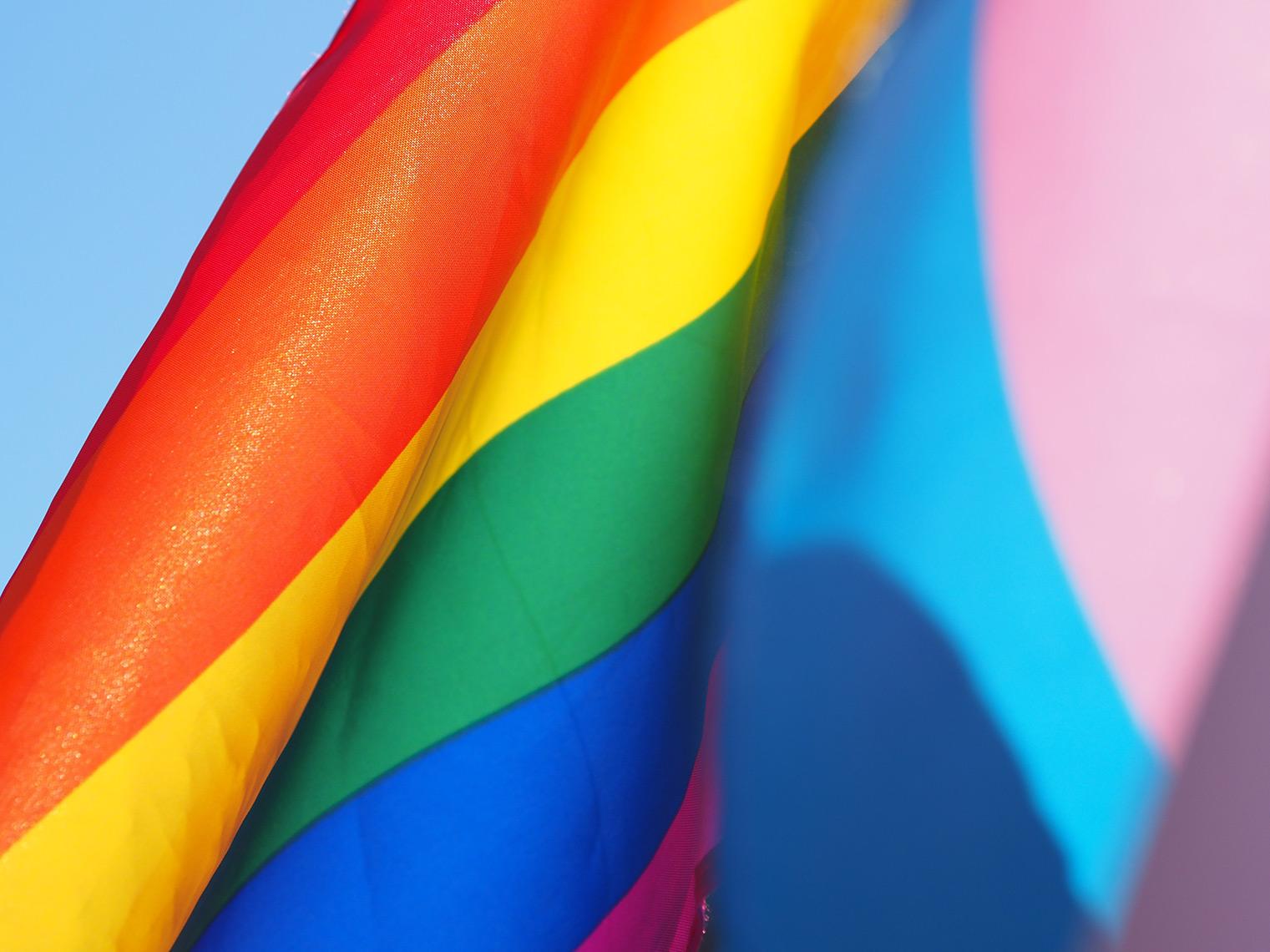 Closeup of a rainbow pride flag.