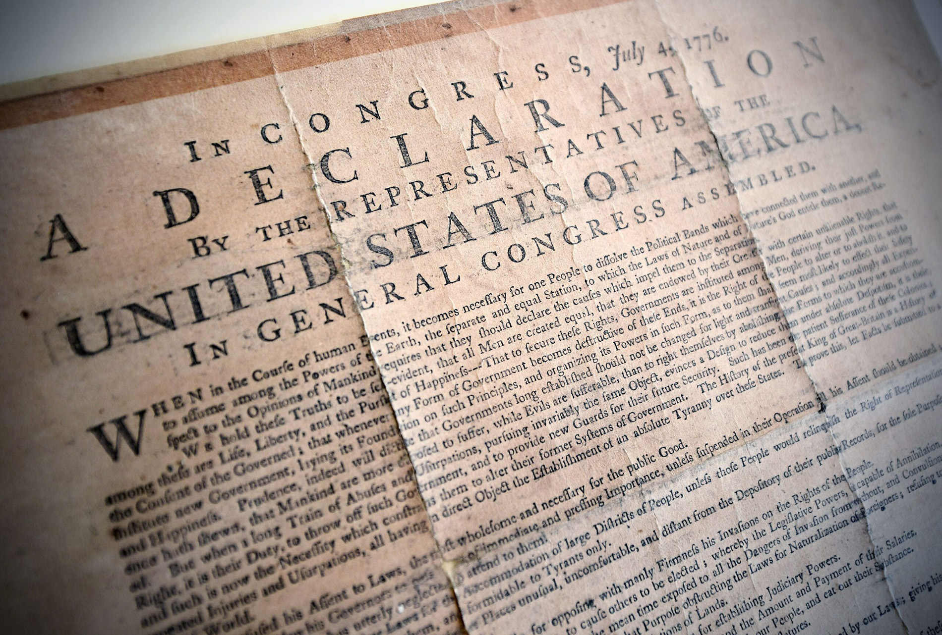 A closeup of a printed copy of the Declaration of Independence.