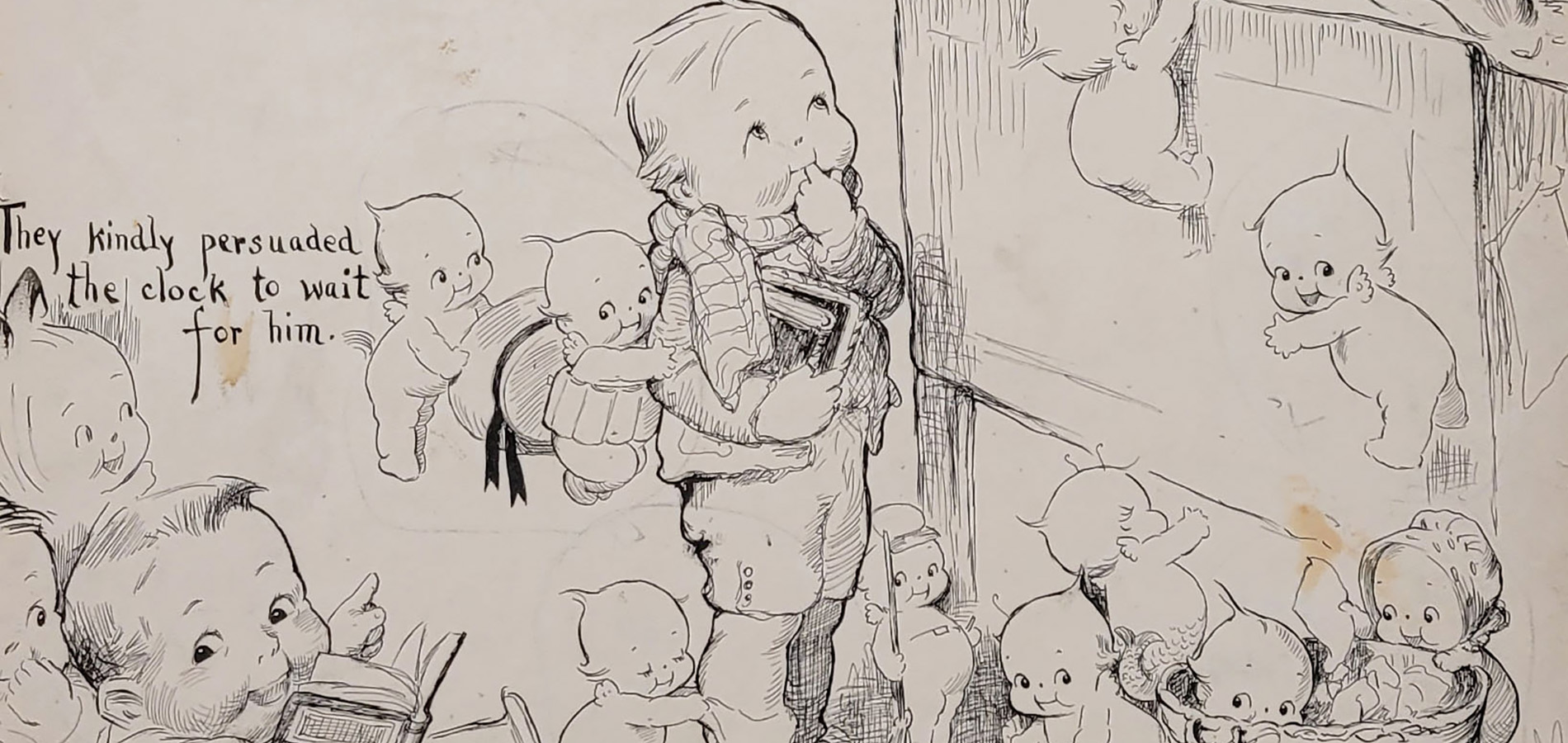 A cropped Rose O'Neill illustration featuring a young boy standing in front of a desk surrounded by helpful Kewpies.