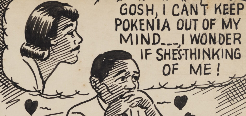 """A comic square from Pokenia #3. The square shows a man thinking of Pokenia and thinking """"Gosh, I can't keep Pokenia out of my mind... I wonder if she's thinking of me!"""""""
