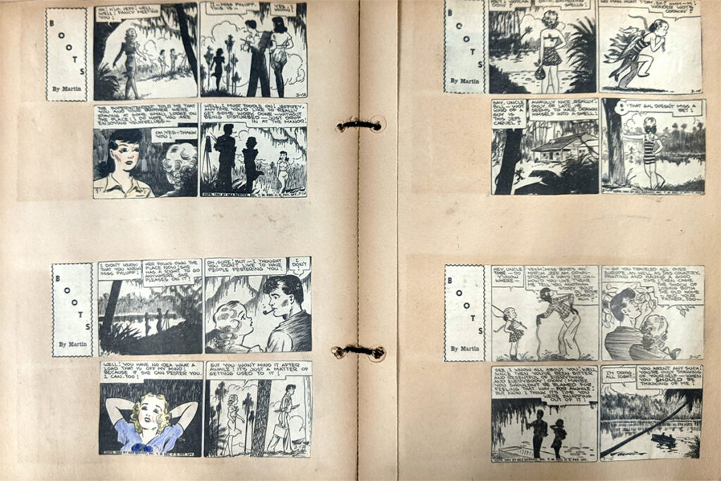 """An open scrapbook with clippings from four four-panel """"Boots"""" comics cut and pasted on the two pages."""