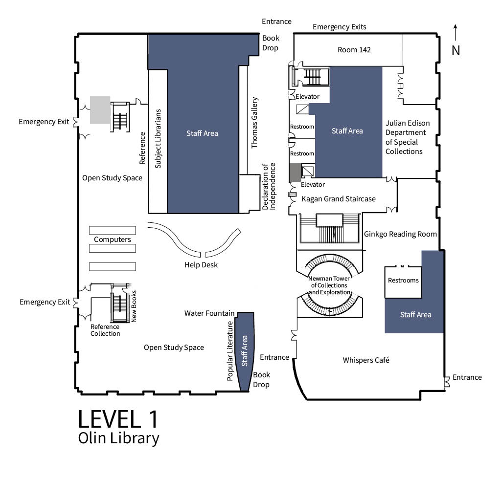 The image shows the floor plan for Level 1 of the Olin Library. Key locations found on Level 1 of Olin are the Help Desk, the Julian Edison Department of Special Collections, the Ginkgo Reading Room, and Whispers Cafe.