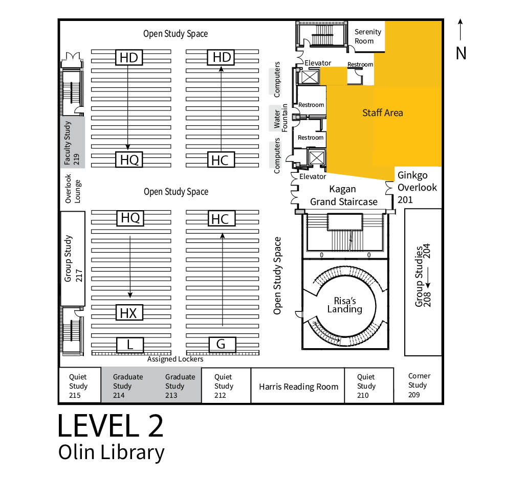 The image shows the floor plan for Level 2 of the Olin Library. Key locations found on Level 2 of Olin are open study spaces, group study spaces, graduate and quiet study rooms, and Risa's Landing.