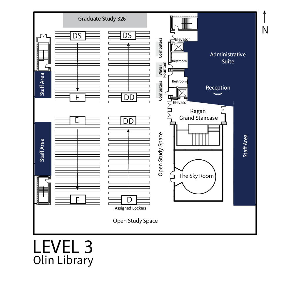 The image shows the floor plan for Level 3 of the Olin Library. Key locations found on Level 3 of Olin are open and graduate study spaces, the Sky Room, and the Administrative Suite.