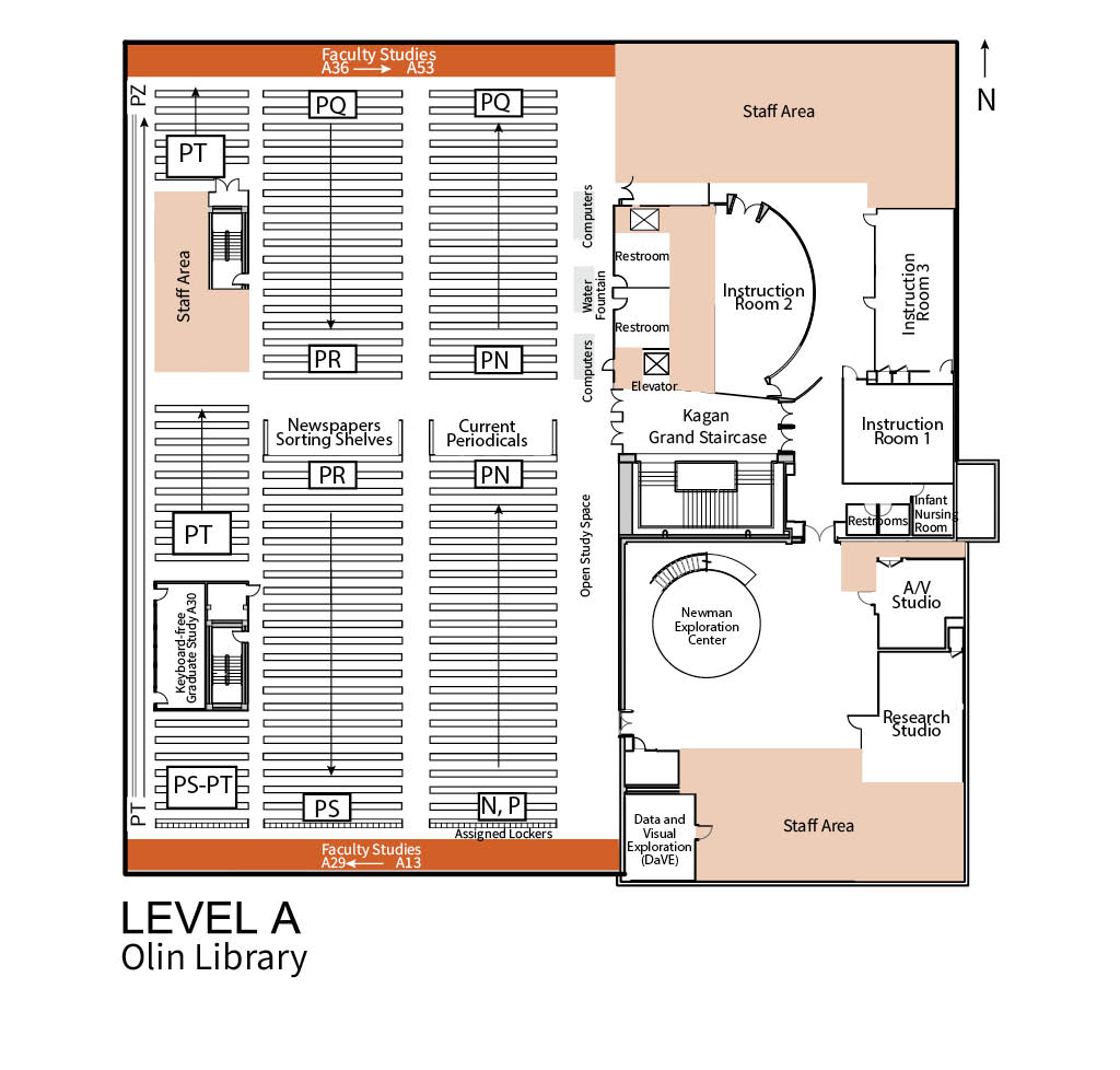 The image shows the floor plan for Level A of the Olin Library. Key locations found on Level A of Olin are Faculty Study areas, Newspapers, Current Periodicals, Instruction Rooms, A/V and Research Studios, the Newman Exploration Center, and more.