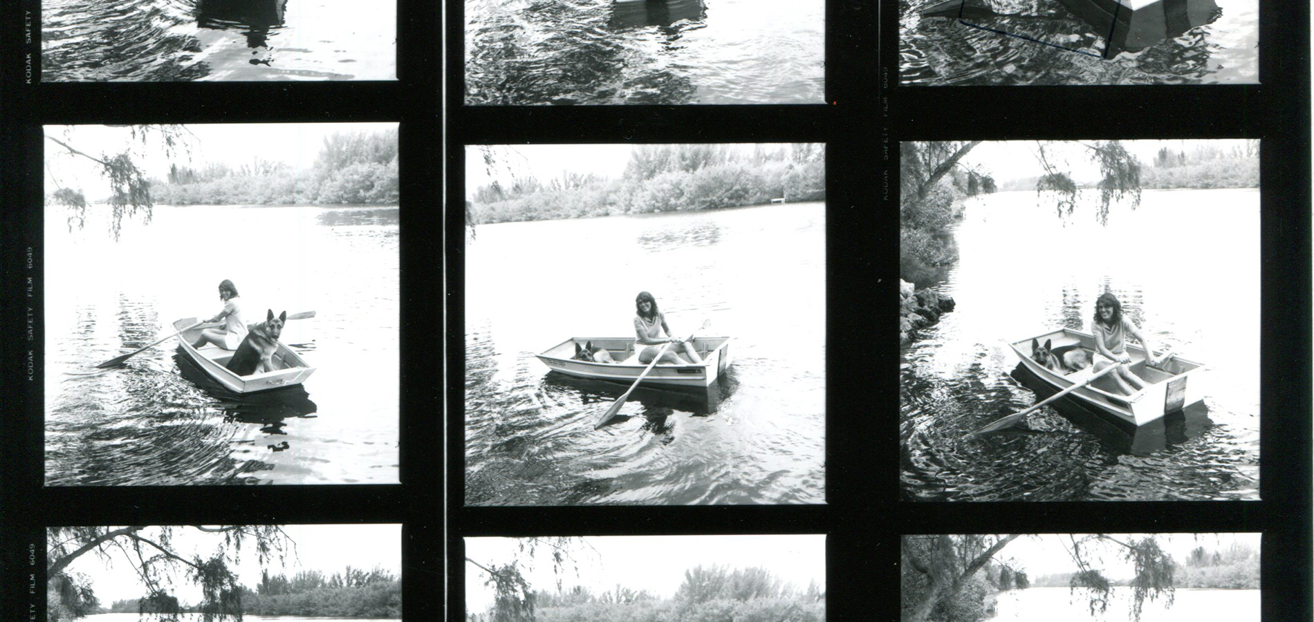 Header image for Joy Williams: Honored Guest. A film strip with multiple photos of Joy Williams in a rowboat with one of her German Shepherd dogs.