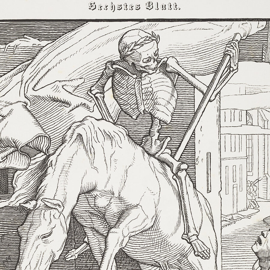 A skeleton - Death - rides through a weeping, decimated down on an exhausted horse.