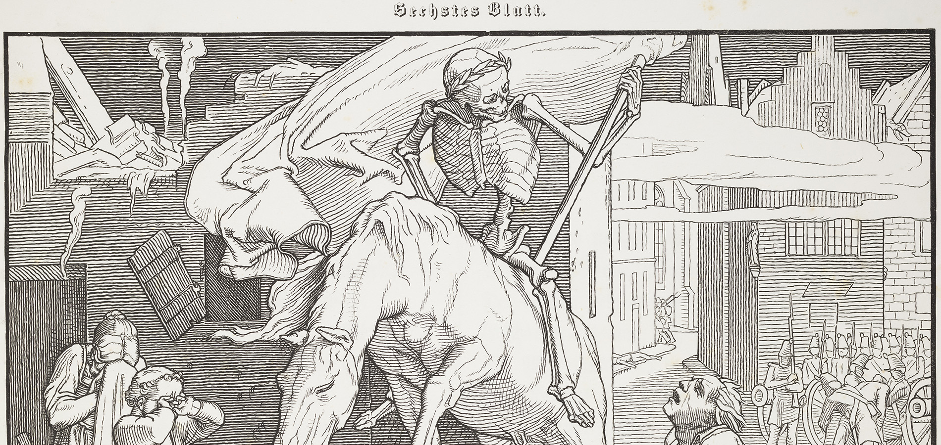 The header image shown here is from pate 6 of Alfred Rethel's Auch ein Todtentanz. A skeleton - Death - rides through a weeping, decimated down on an exhausted horse.