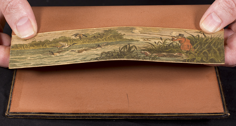 The fore edge painting shows a man in a top hat and hunting jacket standing in the reeds along a river firing a rifle at water fowl.