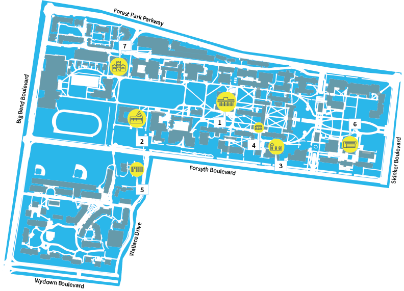 A map of the Washington University Libraries with the seven Danforth Campus Libraries highlighted.