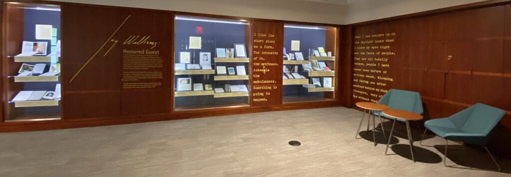 The image shows text along the walls in the Ginkgo Reading Room for the Joy Williams: Honored Guest exhibition. The text on the walls is from The Writer on Her Work, Vol. II: New Essays in New Territory. New York: Norton, 1991.