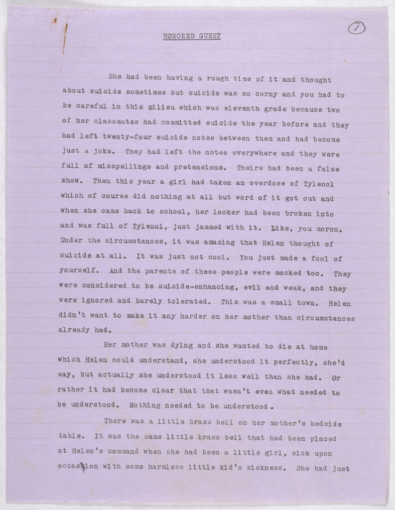 A full, typed page on lavender paper. The page is numbered 1 as this is the first page of the typescript.