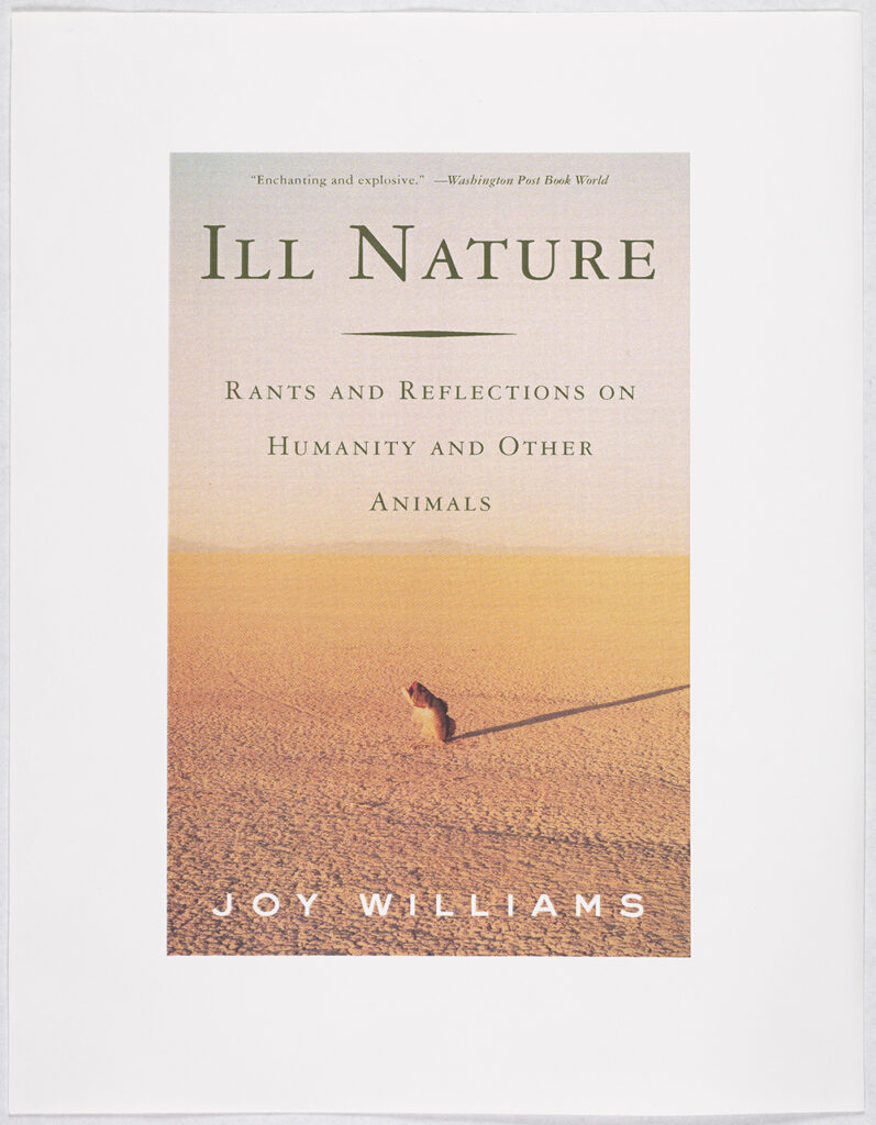 This alternative book cover has a fish in the middle of an empty desert. The title reads Ill Nature: Rants and Reflections on Humanity and Other Animals.