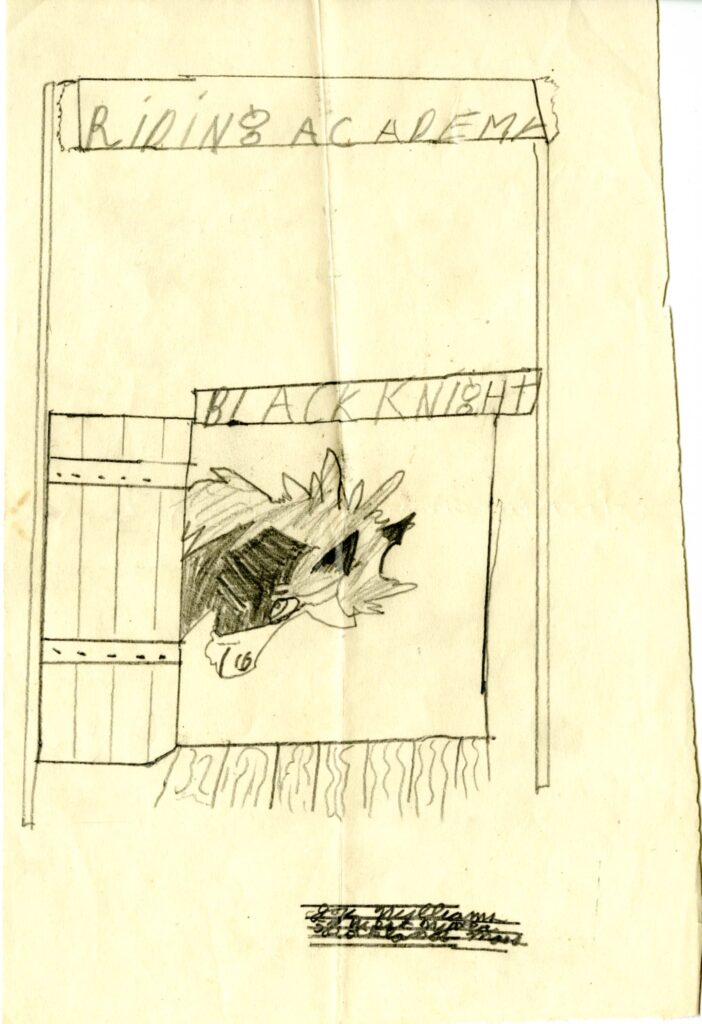 """The child's drawing for """"Pony's Surprise"""" has a horse peaking its head out of a barn door. The barn has a banner over it reading """"Riding Academy"""" and the horse's stall has a name plate reading """"Black Knight."""""""