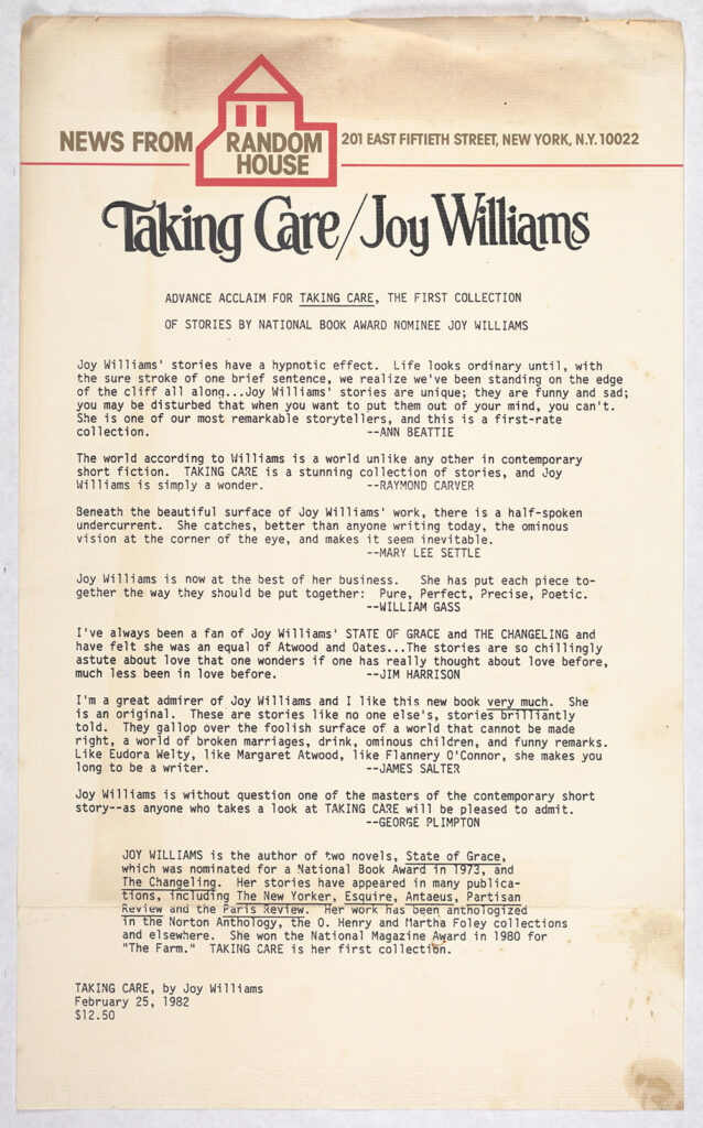 This internal news bulletin from Random House has an official header and is a typed document announcing Joy Williams' Taking Care with a light synopsis of the collection's tone.
