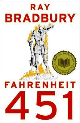 Cover art for Ray Bradbury's FAHRENHEIT 451 shows a man made out of origami book pages standing atop a pile of books. Both the origami man and pile of books are burning.