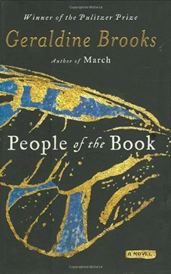 Cover of Geraldine Brooks' People of the Book. The cover has a drawing of a butterfly wing in gold and blue,
