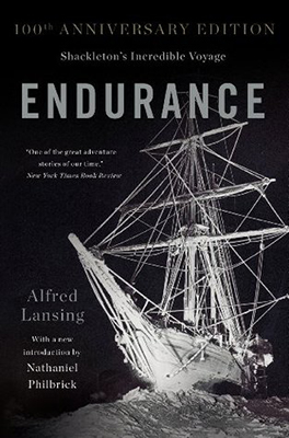 Cover of Alfred Lansing's Endurance: Shackleton's Incredible Voyage. The cover has a negative image of a ship trapped in ice.