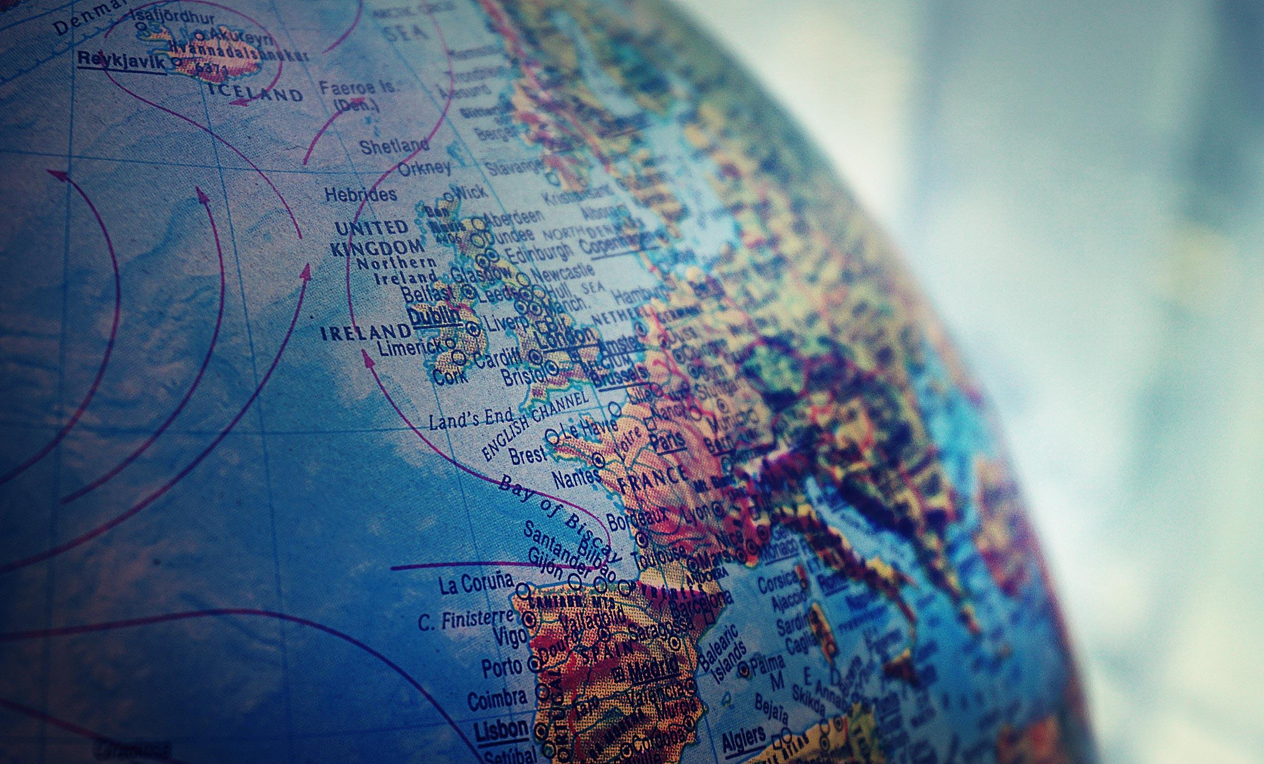 A stock image closeup of a globe.